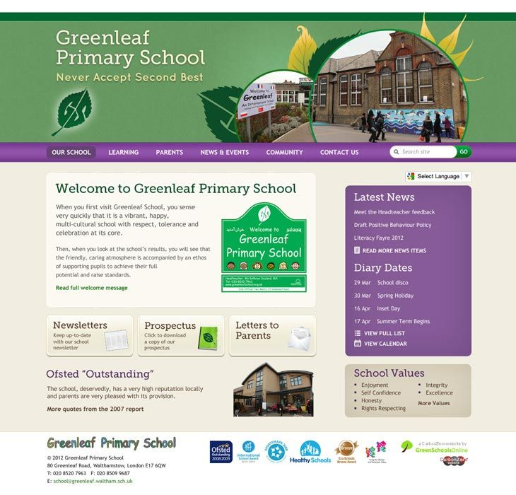 Enlarge Greenleaf Primary School website design