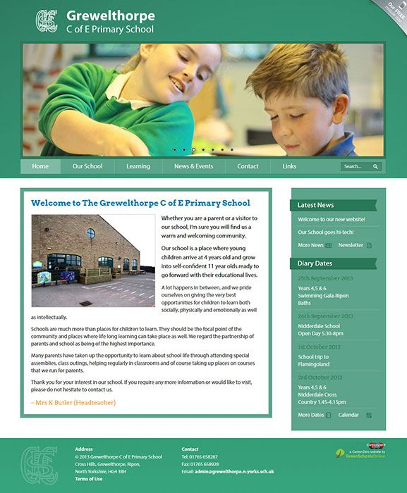 Enlarge Grewelthorpe C of E Primary School website design