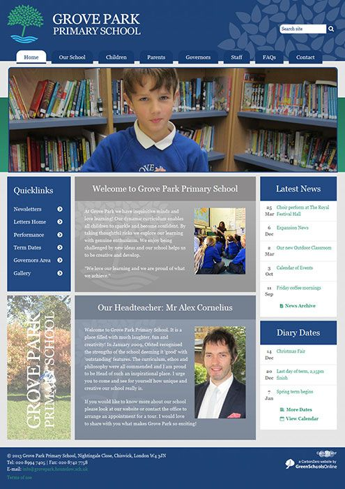 Enlarge Grove Park Primary School website design