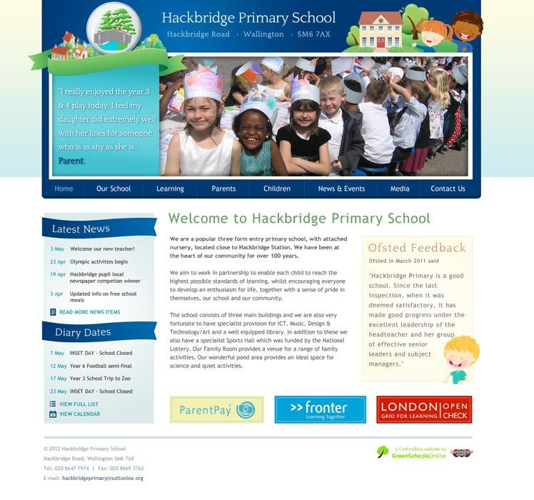 Enlarge Hackbridge Primary School website design