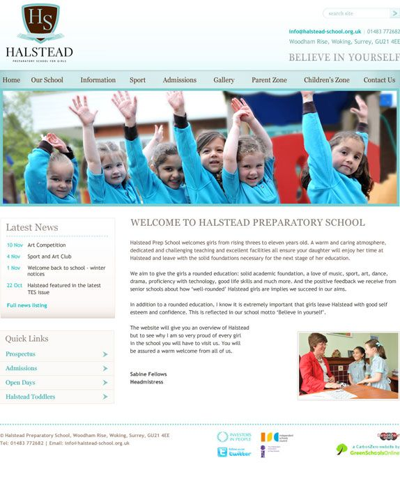 Enlarge Halstead Preparatory School website design