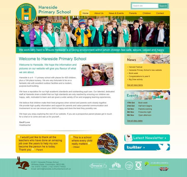Enlarge Hareside Primary School website design