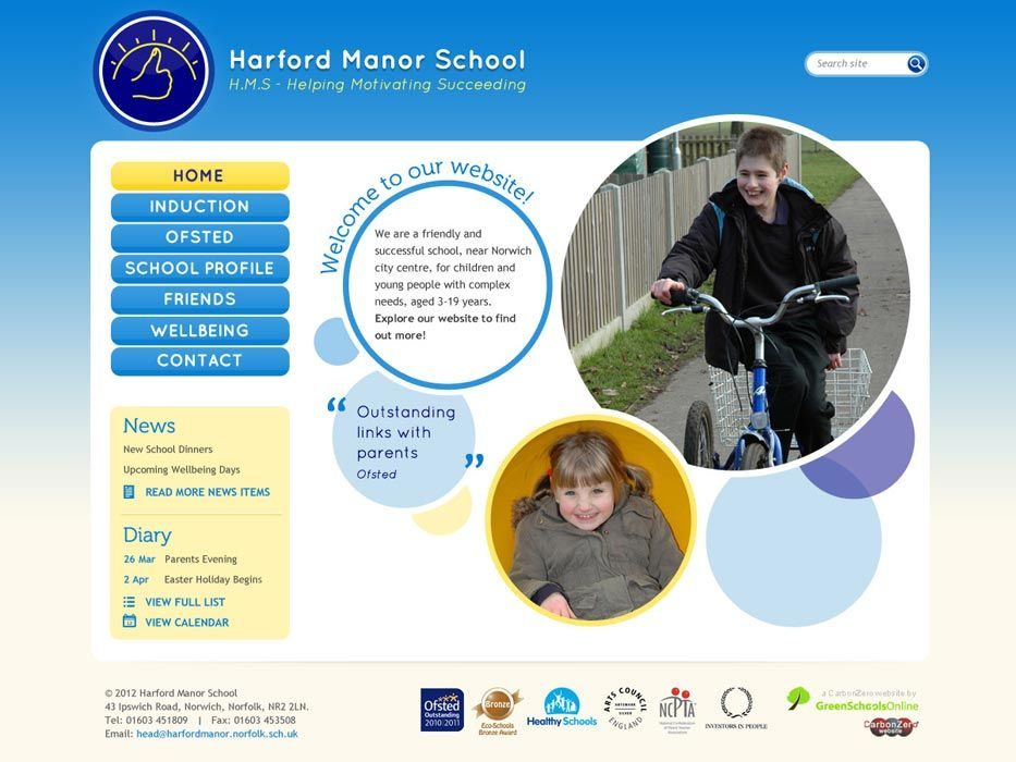 Enlarge Harford Manor School website design