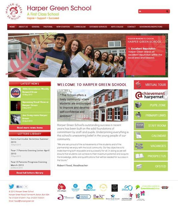 Enlarge Harper Green School website design