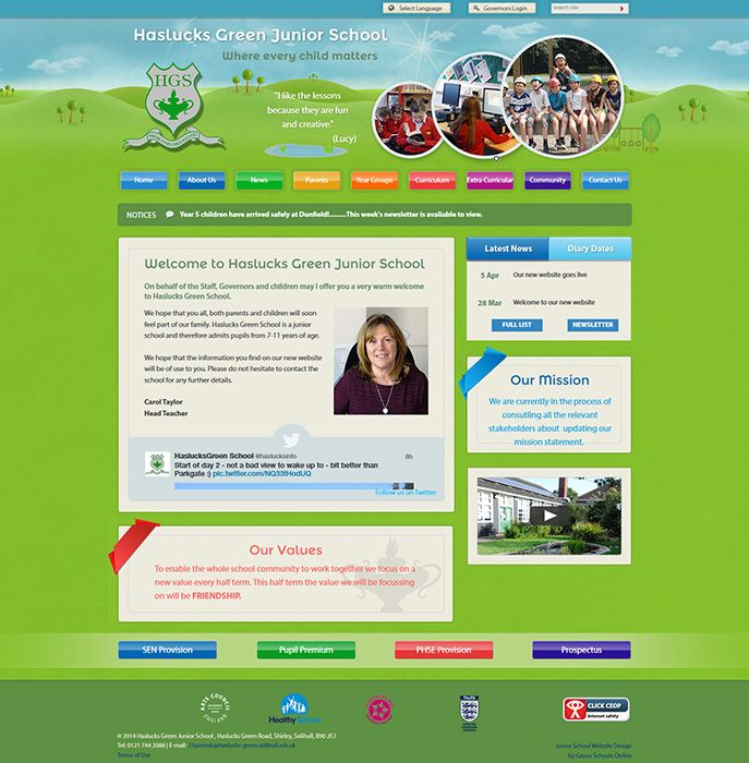 Enlarge Haslucks Green Junior School website design