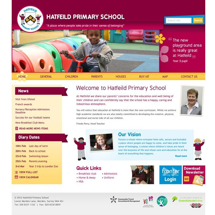 Enlarge Hatfeild Primary School website design