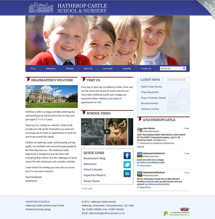 Enlarge Hatherop Castle School website design