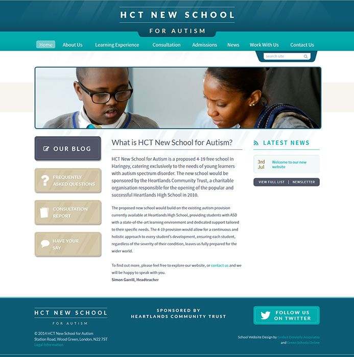 Enlarge HCT New School for Autism website design