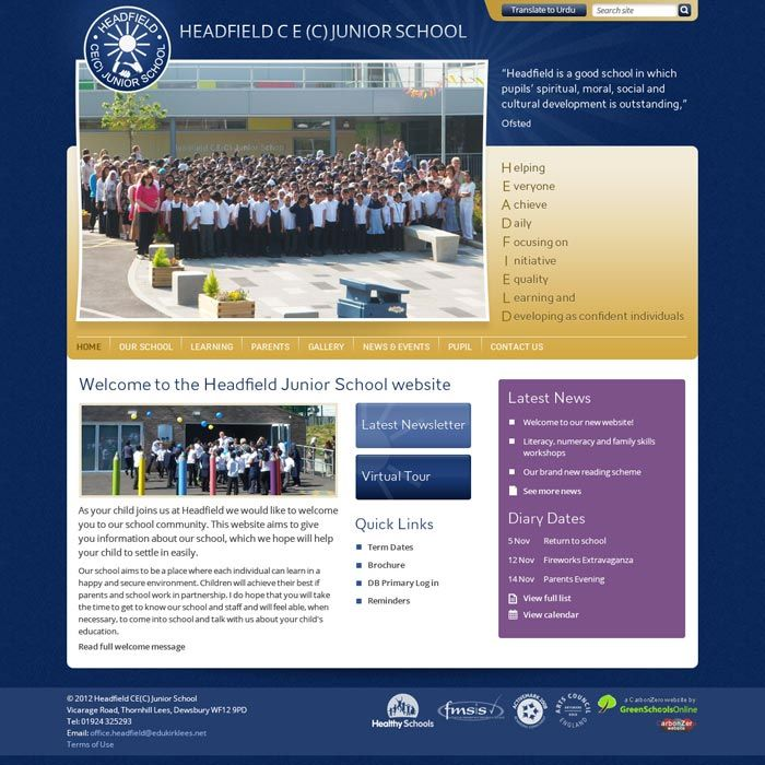 Enlarge Headfield School website design