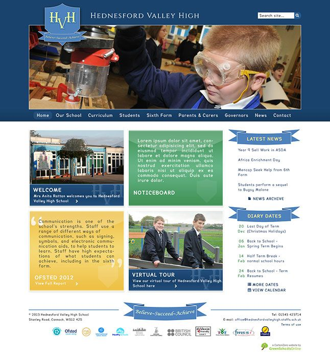 Enlarge Hednesford Valley High website design