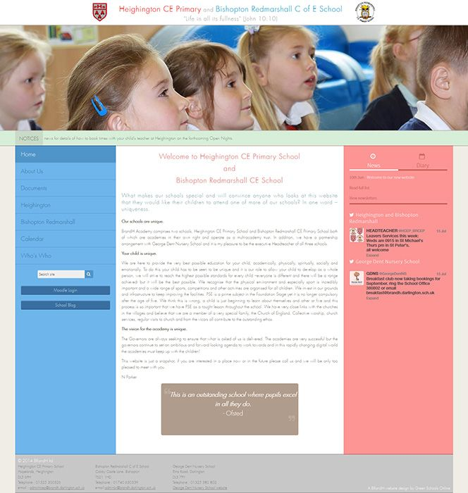 Enlarge Heighington CE Primary and Bishopton Redmarshall C of E School website design