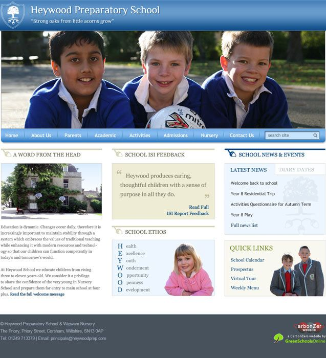 Enlarge Heywood Preparatory School website design