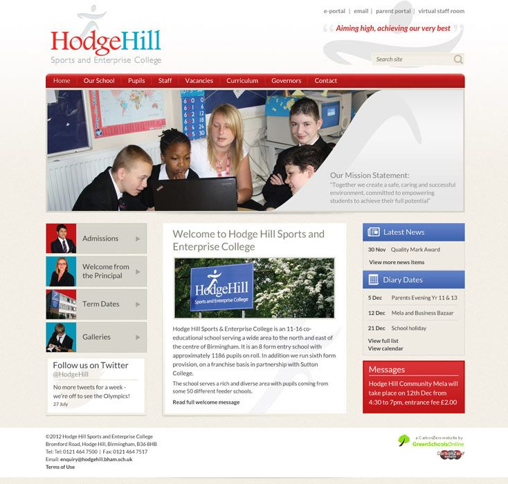 Enlarge Hodge Hill Sports & Enterprise College website design