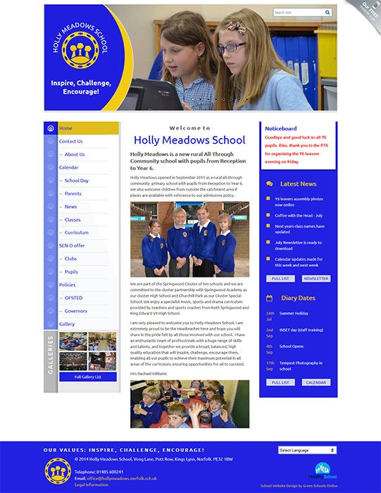 Enlarge Holly Meadows School website design