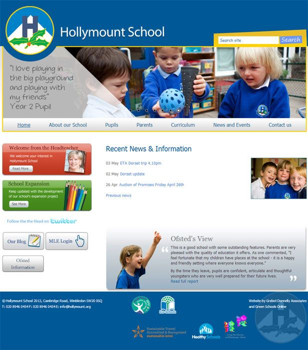 Enlarge Hollymount School website design
