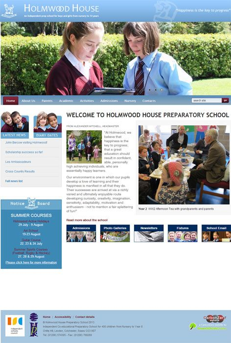 Enlarge Holmwood House website design