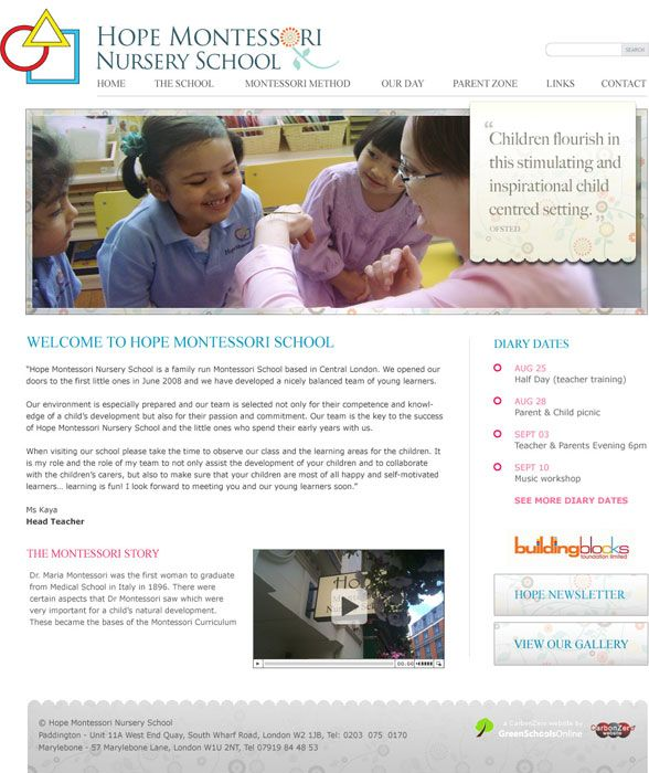 Enlarge Hope Montessori website design