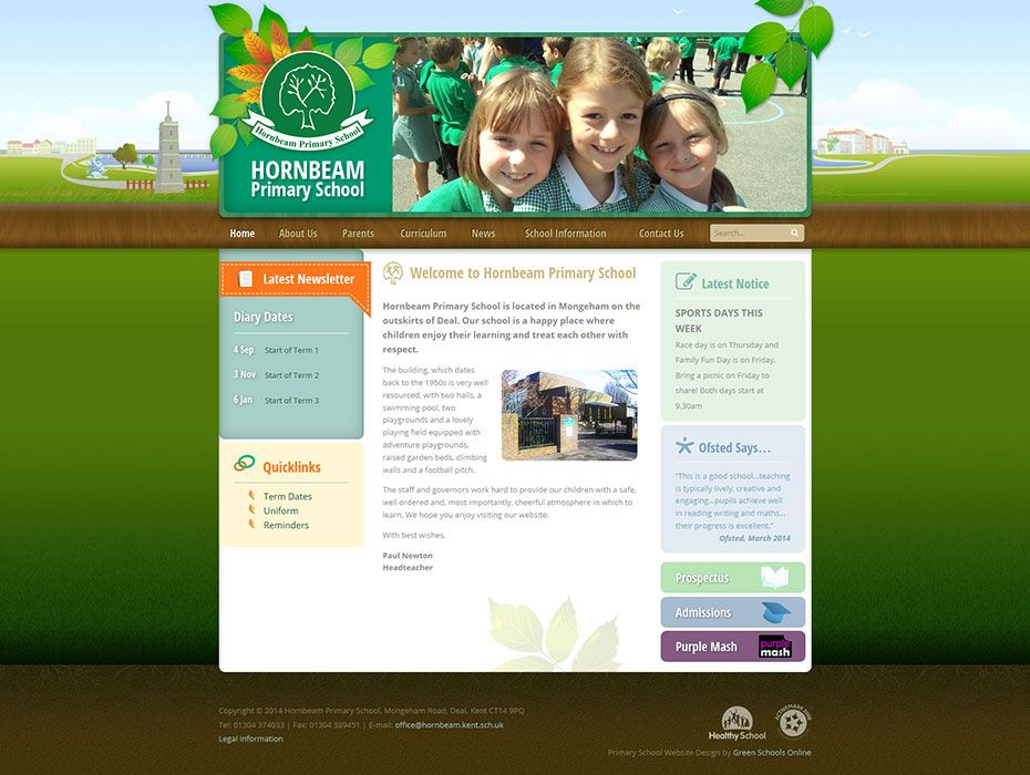 Enlarge Hornbeam Primary School website design