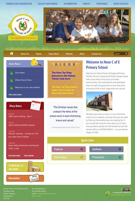 Enlarge Hose C of E Primary School website design
