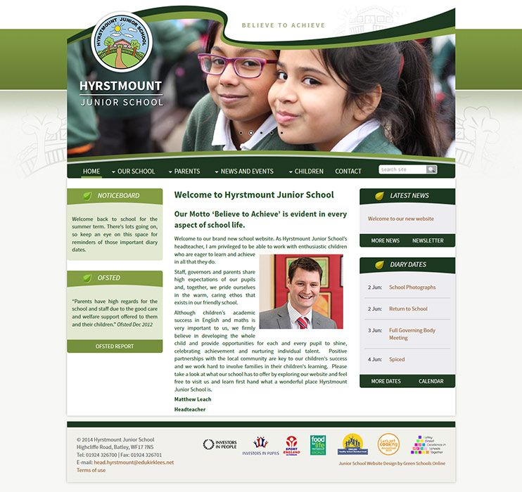 Enlarge Hyrstmount Junior School website design