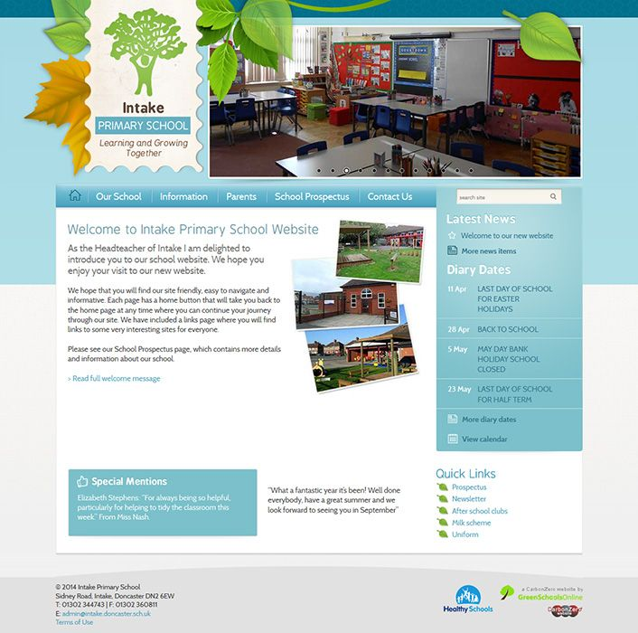 Enlarge Intake Primary School website design