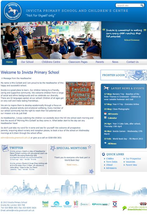 Enlarge Invicta Primary School website design