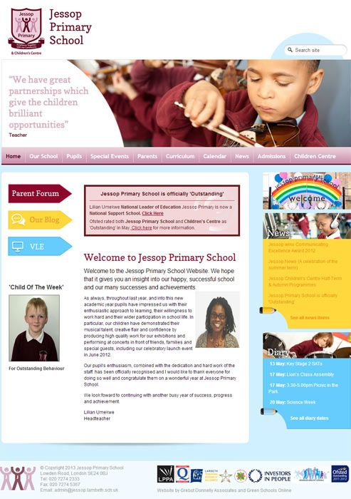 Enlarge Jessop Primary School website design