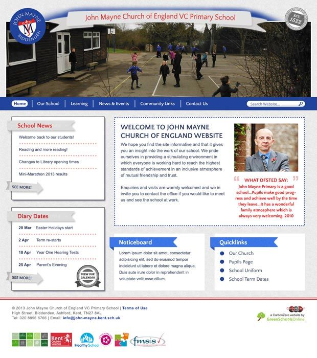 Enlarge John Mayne Primary website design