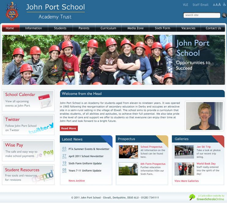 Enlarge John Port School website design