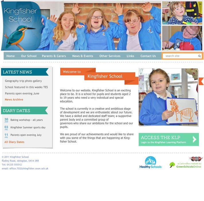 Enlarge Kingfisher School website design