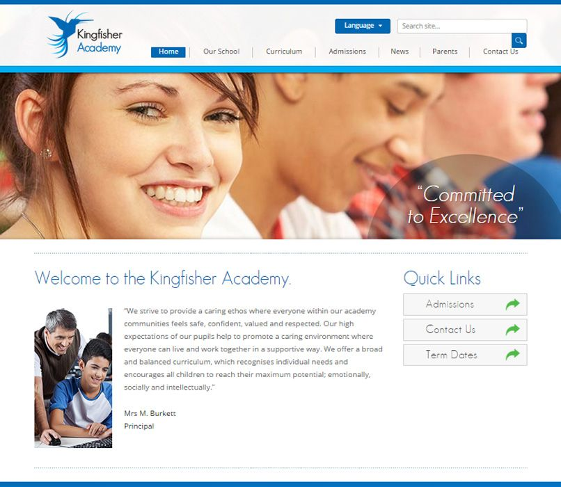 Enlarge The Kingfisher Academy website design