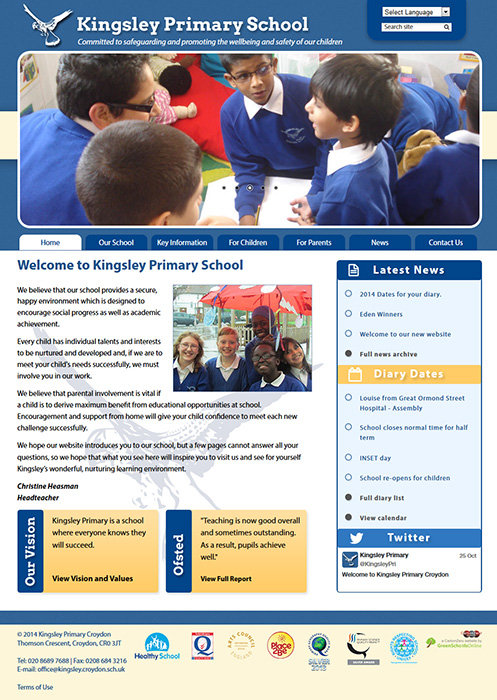 Enlarge Kingsley Primary Croydon website design