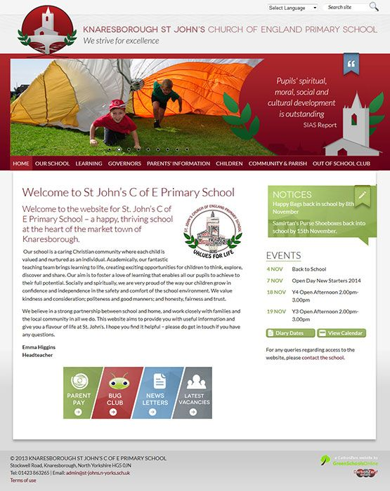 Enlarge Knaresborough St John's Primary School website design