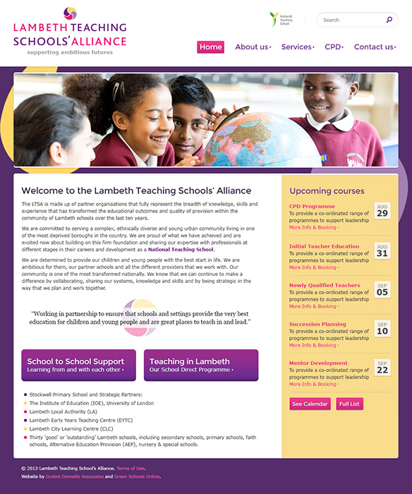 Enlarge Lambeth Teaching School Alliance website design