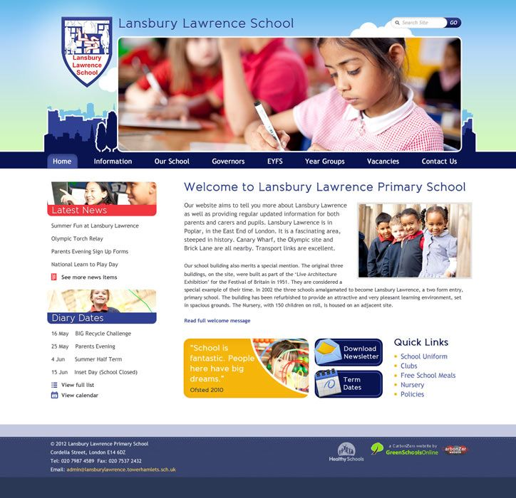 Enlarge Lansbury Lawrence Primary School website design