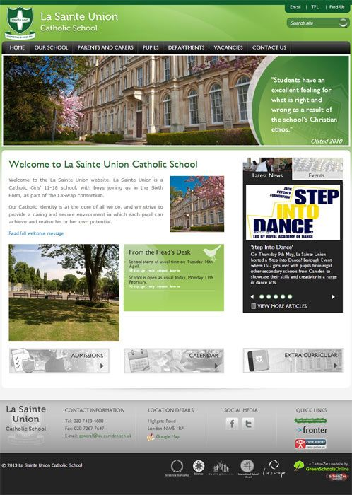 Enlarge La Sainte Union website design