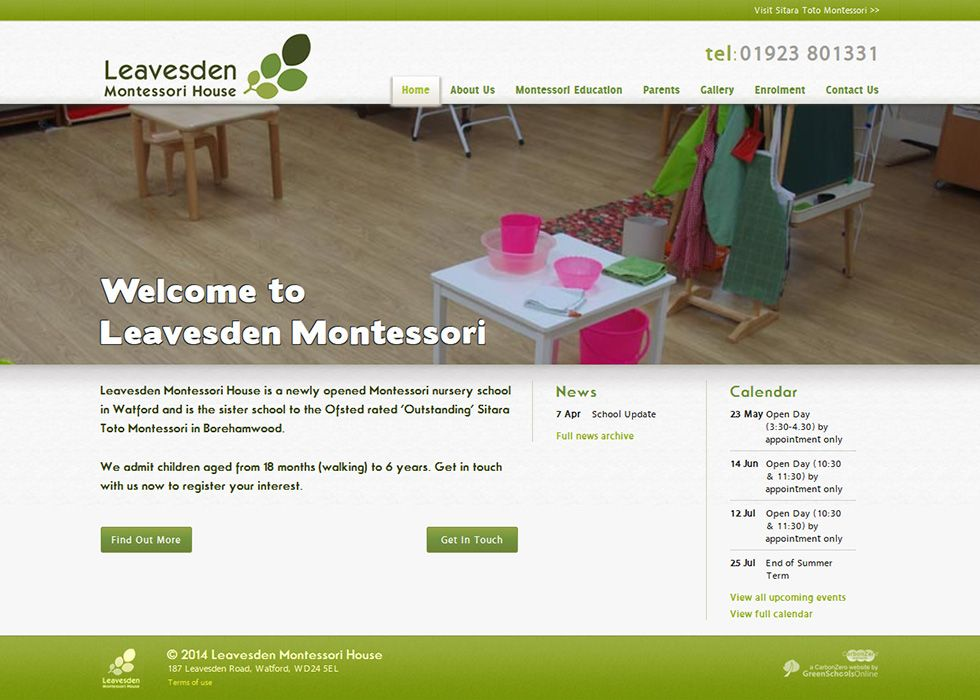 Enlarge Leavesden Montessori website design