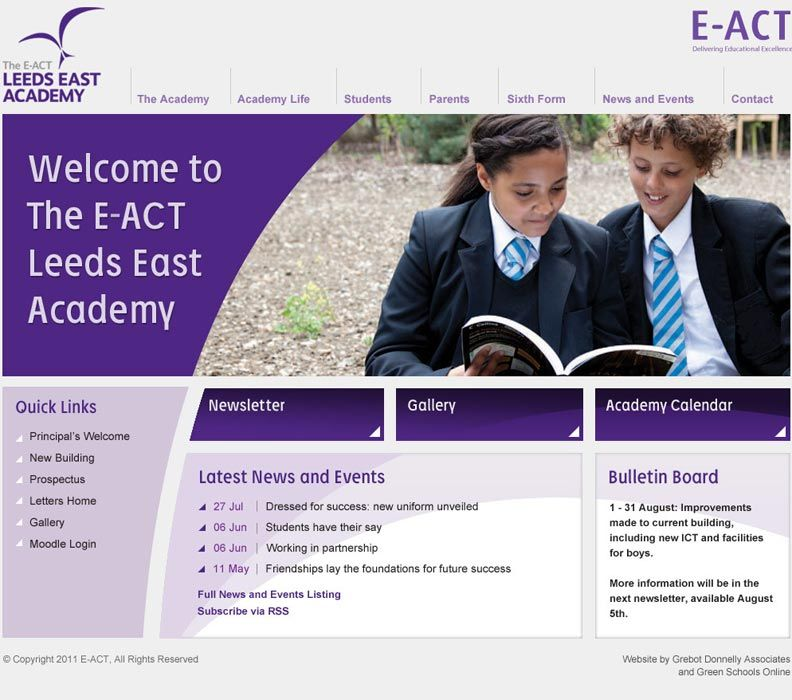 Enlarge Leeds East Academy website design