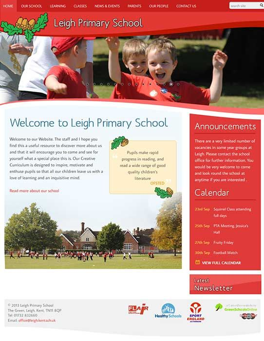 Enlarge Leigh Primary School website design