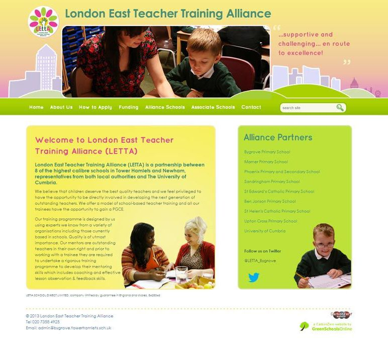 Enlarge London East Teacher Training Alliance website design