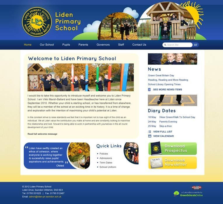 Enlarge Liden Primary School website design