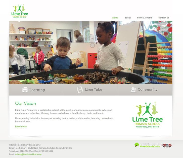 Enlarge Lime Tree Primary School website design