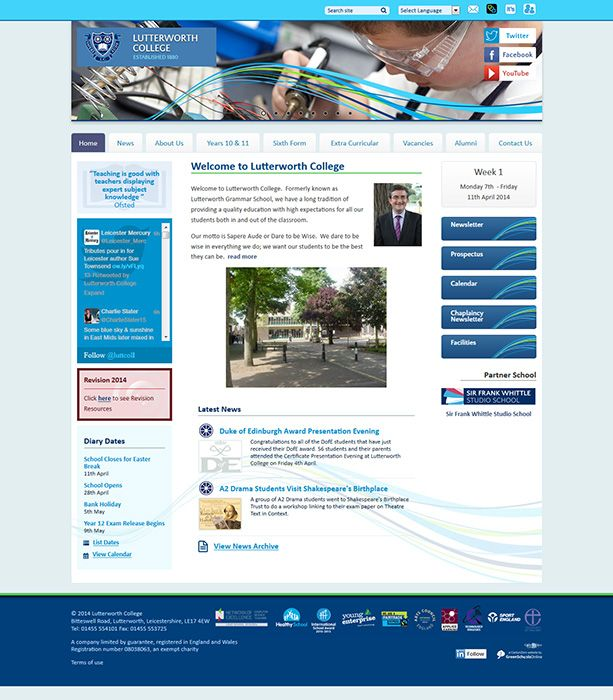 Enlarge Lutterworth College website design