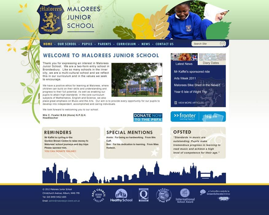 Enlarge Malorees Junior School website design