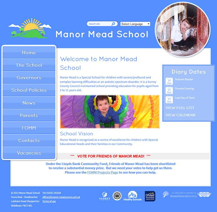 Enlarge Manor Mead School website design