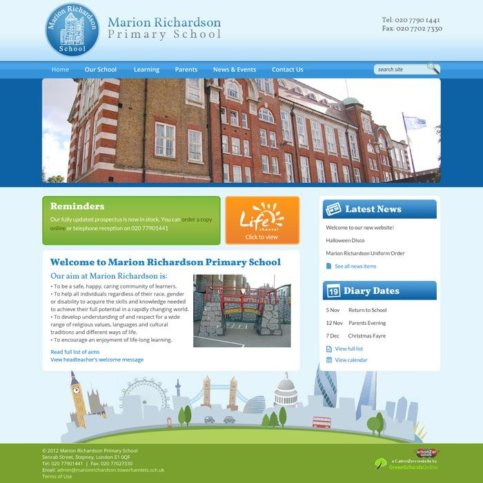 Enlarge Marion Richardson Primary School website design