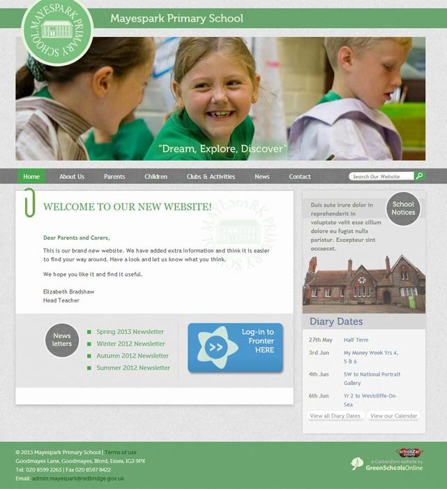 Enlarge Mayespark Primary School website design