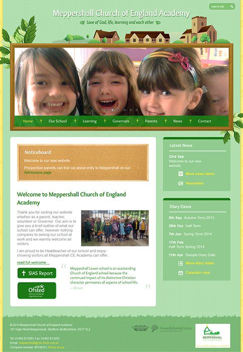 Enlarge Meppershall C of E VA Lower School website design