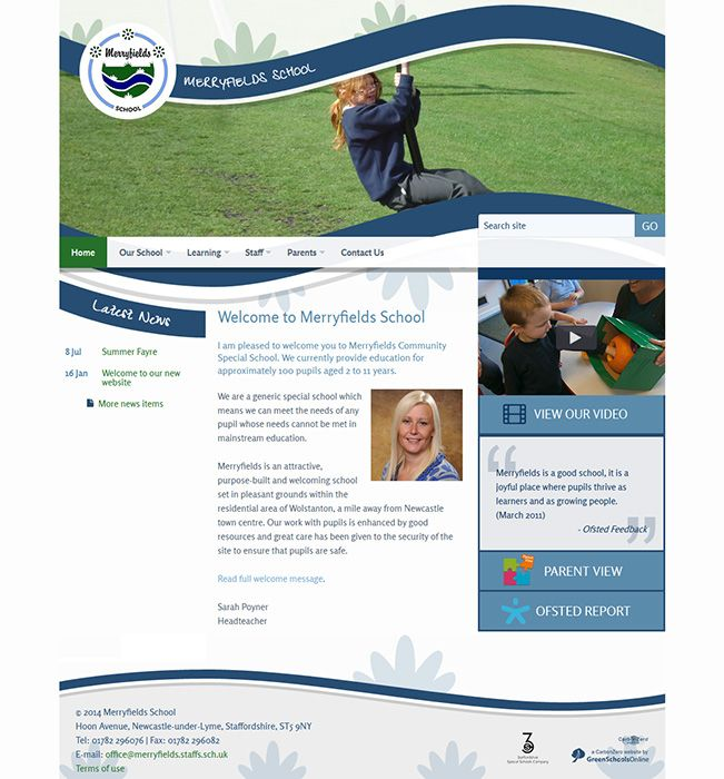 Enlarge Merryfields School website design
