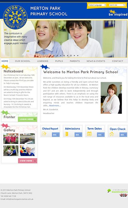 Enlarge Merton Park Primary School website design